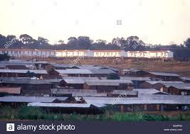 slum housing in kibera with modern low cost but new homes in the