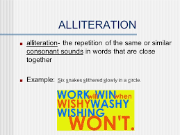 literary terms alliteration alliteration the repetition of
