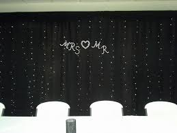 mr mrs backdrop black sheer curtain with fairy lights and bling