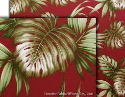 Upholstery Fabric Hawaii Maroon Red Fabric Tropical Hawaiian Upholstery Fabric Monstera