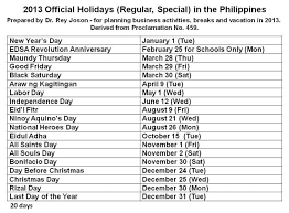2013 official holidays regular special in the philippines