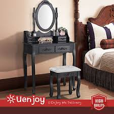 Black Vanity Table Black Dressing Table Vanity Makeup Desk W 4 Drawers Mirror And