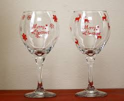 desperate craftwives stenciled christmas wine glasses