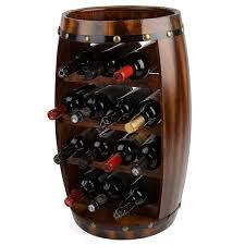 storage u0026 organization christow wooden barrel wine rack amazon co