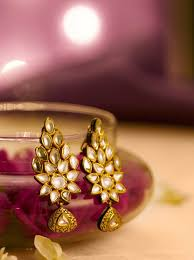 temple design gold earrings floral temple filigree drop golden jhumka earrings by tanishq