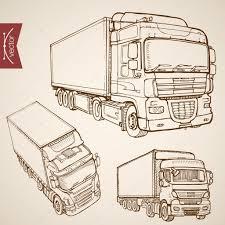sketch truck van lorry vehicles u2014 stock vector sentavio 117603418
