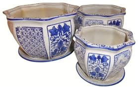 porcelain garden pots 3 piece set traditional indoor pots and