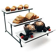 metal platters food serving tray set 3 tier metal display stand