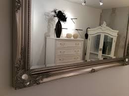 Shabby Chic Large Mirror by X Large Silver Shabby Chic Wall Mirror 46inch X 36inch 117cm X