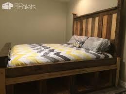 Pallet Bed Frame Plans Two Toned Pallet King Size Bed Frame U2022 1001 Pallets