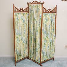 Tri Fold Room Divider Screens Tri Fold Wood And Cloth Panel Privacy Screen Ebth