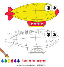 zeppelin colored coloring book educate stock vector 513916090