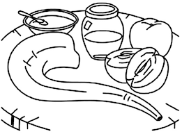 Shofar And Honey And Apple On The Table On Rosh Hashanah Coloring Rosh Hashanah Colouring Pages