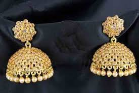 jhumki style earrings in gold designer earrings traditional jhumki pearl with white