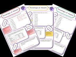 percentages of amounts differentiated mastery worksheets by