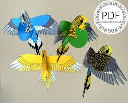 bird decorations for home diy paper budgerigar craft instant download pdf file