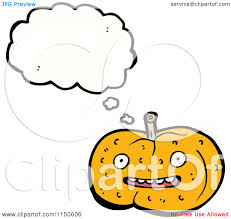 cartoon of a thinking halloween pumpkin royalty free vector