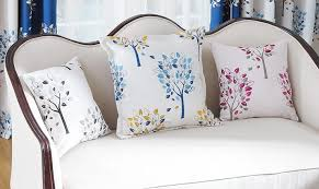 Blue Tree Embroidered Throw Pillows For Living Room Decorative - Decorative pillows living room