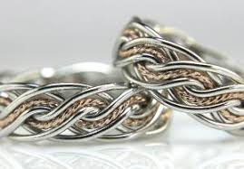 wedding ring with two bands two tone braided wedding rings handmade by artist todd alan