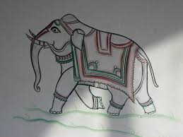 elephant painting on guest house wall photo