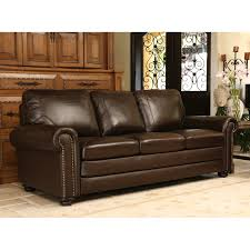 Abbyson Leather Sofa Reviews Abbyson Barclay Hand Rubbed Leather Sofa Brown Hayneedle