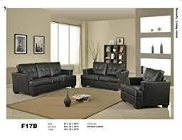 sofa loveseat and chair set amazon com 3 pcs black classic leather sofa loveseat and chair