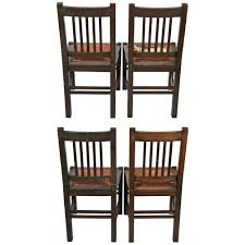 antique stickley quaint furniture wood dining chairs set 4