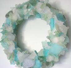 Beach Decor Sea Glass Wreath Nautical Beach Glass Wreath For