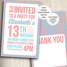 birthday party invitation for teenage with thank you notes