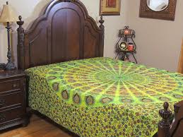 green peacock tail fan tapestry cotton fabric bed sheet bedding