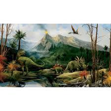 dinosaur jurassic volcano landscape large accent wall mural dinosaur landscape wall murals chair rail