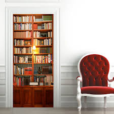 200x77cm 3d retro bookshelves pvc self adhesive door wall sticker