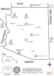 map of arizona map of arizona coloring page free printable coloring pages