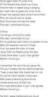 old time song lyrics i found you among the roses