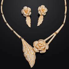 gold flower necklace designs images Fashion wedding dress 2015 jewelery sets rose flower design fine jpg
