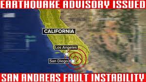 Earthquake Los Angeles Map by Southern California Earthquake Advisory San Andreas Instability