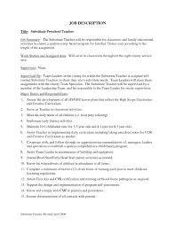 Resume Sample Substitute Teacher by Responsibilities Of Substitute Teacher For Resume Resume For