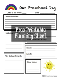 preschool planning sheet free printable teaching mama