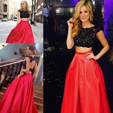 2015 two pieces long prom dresses jewel black lace top dance party