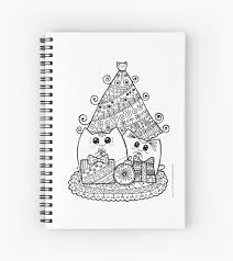 christmas cats with gifts kawaii cat colouring drawing