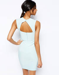 lipsy lace applique bodycon dress with open back in blue lyst
