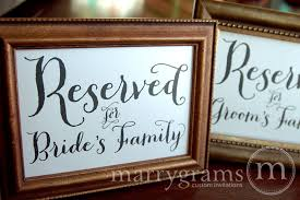reserved signs for wedding tables reserved for bride s and groom s family signs thick style