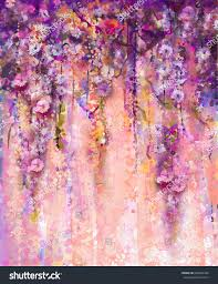 abstract flowers watercolor painting spring purple stock