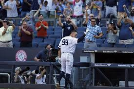 Aaron Judge Made His Mlb Debut In Center Field - new york yankee aaron judge breaks mlb rookie home run record with