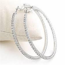 white gold hoop earrings 18k white gold plated hoop earrings lined with cubic zirconias