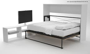 Cool Bedframes Cool Metal Horizontal Wall Bed Against Wall And White Desk