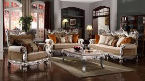 Victorian Sofa Set by Victorian Beige U0026 Orange Winged Sofa U0026 Loveseat Set In Silver Finish