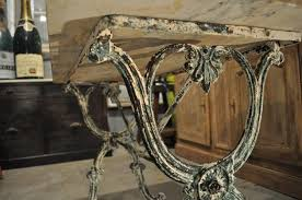 Iron Bistro Table Antique Garden Bistro Table With Green Iron Base And Marble