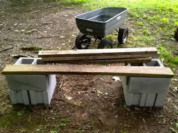 bench cinder block wood bench rhomba bench design cinder block