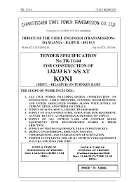 tender document konifinal electrical substation taxes